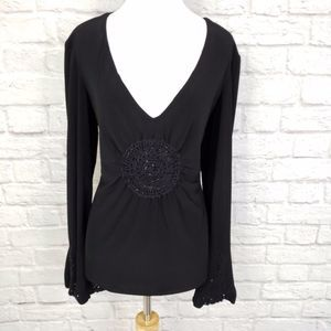 Vintage Vasarri Black Embellished Bell Sleeve Top